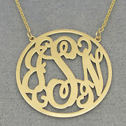 Solid 14k Gold 3 Initials Circle Monogram Necklace 1 1/4 Wedding Gift Jewelry