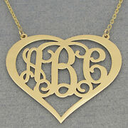 Solid 10k Gold Heart 3 Initials Monogram Necklace 1.5 Wedding Gift Fine Jewelry