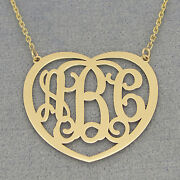 14k Solid Gold 3 Initial Heart Monogram Necklace 1.25 Inch Valentines Gift