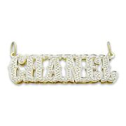 Personalized 14k Solid Gold Ice Name Pendant 3d Double Plates Western Style Font