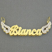 14k Gold Personalized Double Nameplates Angel Wings Pendant Charm Two Tone Nd40
