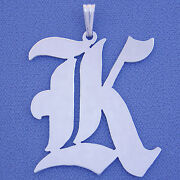 Large Sterling Silver Old English Initial Pendant Charm Si52