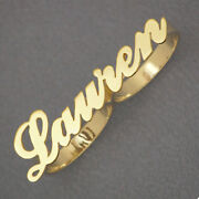 14k Solid Gold Two Finger Name Ring Custom Made Personalized Fine Jewelry Nr40
