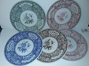 Spode Archive Collection Georgian Series Floral 5 Dinner Plates 10.25 New