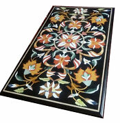 48 X 24 Black Marble Coffee Pietra Dura Floral Table Top Inlay Art Work