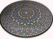 48 Round Marble Dining Table Top Mosaic Inlay Marquetry Home Decor