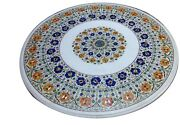 48 Round Marble Coffee Table Marquetry Stone Lapis Inlay Art Patio Decor