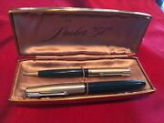 Vtg. Parker 51 Forest Green Fountain Pen And Push Down Pencil Custom Set W/ Box