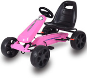 Go Kart, 4 Wheel Powered Ride On Toy, Kids Pedal Cars For Outdoor, Racer Pedal