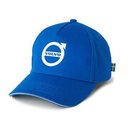 Volvo Brand Curved W/ 3d Feel Iron Mark And Reflective Piping Blue And White Hat/cap