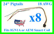 8x Fits Ign1a Aem Ignition Smart Coil Connector 24 Pigtail Plug Harness 30-2853