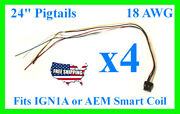 4x Fits Ign1a Aem Ignition Smart Coil Connector 24 Pigtail Plug Harness 30-2853
