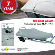 Oceansouth Outboard Rigid Hull Inflatable Boat Cover L 16.7' - 17.4' W 7.5'