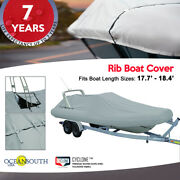 Oceansouth Outboard Rigid Hull Inflatable Boat Cover L 17.7and039 - 18.4and039 W 7.5and039