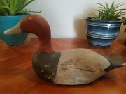 Vintage Antique Old Wooden Early Working Canvasback Drake Duck Decoy W/ Weight