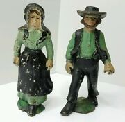 Vintage Amish Cast Iron Mennonite 5 Man And Woman Figures Hand Painted Old Set