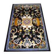 54 X 30 Marble Coffee Table Top Pietra Dura Floral Inlay Work Home Room Decor