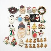 Vintage And Modern Lot Of 33 Christmas Brooch Jewelry Pin Tree Santa Claus Etc.