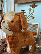 1950's Vintage Stuffed Dog Bell In Ear Rust And Tan Blonde Charming