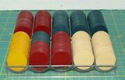 Vintage Clay Poker Chips , Antique Rare Old Clay Poker Chips Gambling Set Of 215