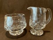 Waterford Crystal Lismore Footed Open Sugar Bowl And Creamer