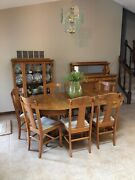 Antique Tiger Oak Table, 2 Leaves, 8 Chairs, Buffet, China Hutch.
