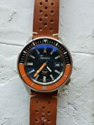 Squale Matic 60 Atmos Satin Black/orange 6045 Automatic Diver Swiss Made
