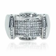 14kt White Gold Invisible Princess Cut And Round 2.00ctw Diamond Mens Ring