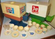 Vintage Pepsi And 7 Up Dispenser Stand Stands Lot Cups Plates Used Toy Alum Speci
