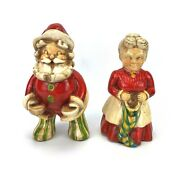 Vintage Santa And Mrs Claus Hand Painted And Glazed Solid Figurines