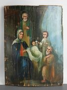 Icon Christmas Of Christ Nativity Orthodox Russian Empire Oil Wood 275x205mm