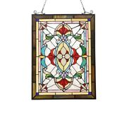 Stained Glass Window Panel Victorian Cut Glass Style 17.6 W X 24.5 T