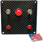 2 Toggle Switch Panel Real Carbon Fiber 2 Red Indicators Large Red Indicator