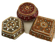 Trinket Boxes Lot 3 Crystal Gem Small Jewelry Boxes