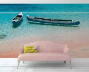 3d Blue Seascape Boat Wallpaper Wall Mural Removable Self-adhesive Sticker B870