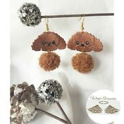 New Hand Knitted Curly Poodle Earrings With Fluffy Ball. Dog Lovers Must Have.