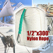 1/2x300and039 Twisted Three Strand Nylon Anchor Mooring Rope Dock Line W/ Ss Thimble