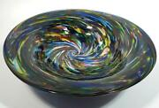 Heavy And Thick 19 Lb Hand Blown Glass Bowl Dirwood Glass Rainbow Colors On Black