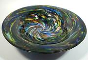 Heavy And Thick 19 Lb Hand Blown Glass Bowl Dirwood Glass, Rainbow Colors On Black