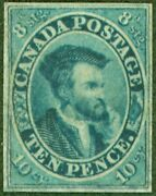 Canada 1852 10d Dp Blue Sg15 Good Unused Example Of This Rare Early Classic C...
