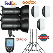 Us 3x Godox Sk300ii 300w Flash Light And Stand Softbox Xpro-o Trigger For Olympus
