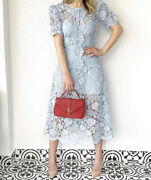 2020 Nwt Authentic Self Portrait Puff-sleeve Floral Lace Midi Dress Rs20-027