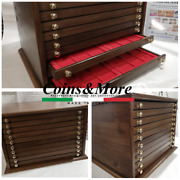 Money Chest Medals Table In Wood 10 Drawer Coinsandmore Coin Cabinet Medailler