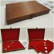 Wooden Coin Tray Cabinet Coin/medal Storage Box 2 Trays Collection Holder Wood