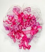 Large Bright Pink White Deco Mesh Princess Wood Sign Door Wreath Girl Room New