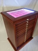 Money Chest Medals Table 15 Drawer Colour Mahogany With Led Coinsandmore Wood