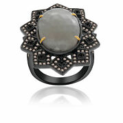 Heavy 13.06 Ct Slice Sapphire And Diamond 18k Gold And Sterling Fashion Ring Size 7