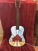 """Vintage Stained Glass Guitar Accent Lamp """"the Ryman"""""""
