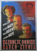 Best Years Of Our Lives Myrna Loy Fredric March 1947 Mega Rare Yugo Movie Poster