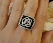 Wide Band Diamond And Onyx Camellia Flower Ring In 18k White Gold - Hm1618n